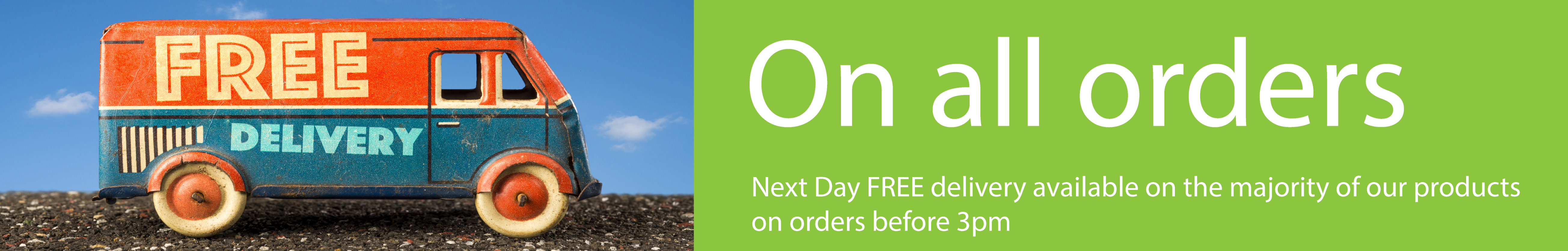 Free Delivery on all orders placed before 3pm