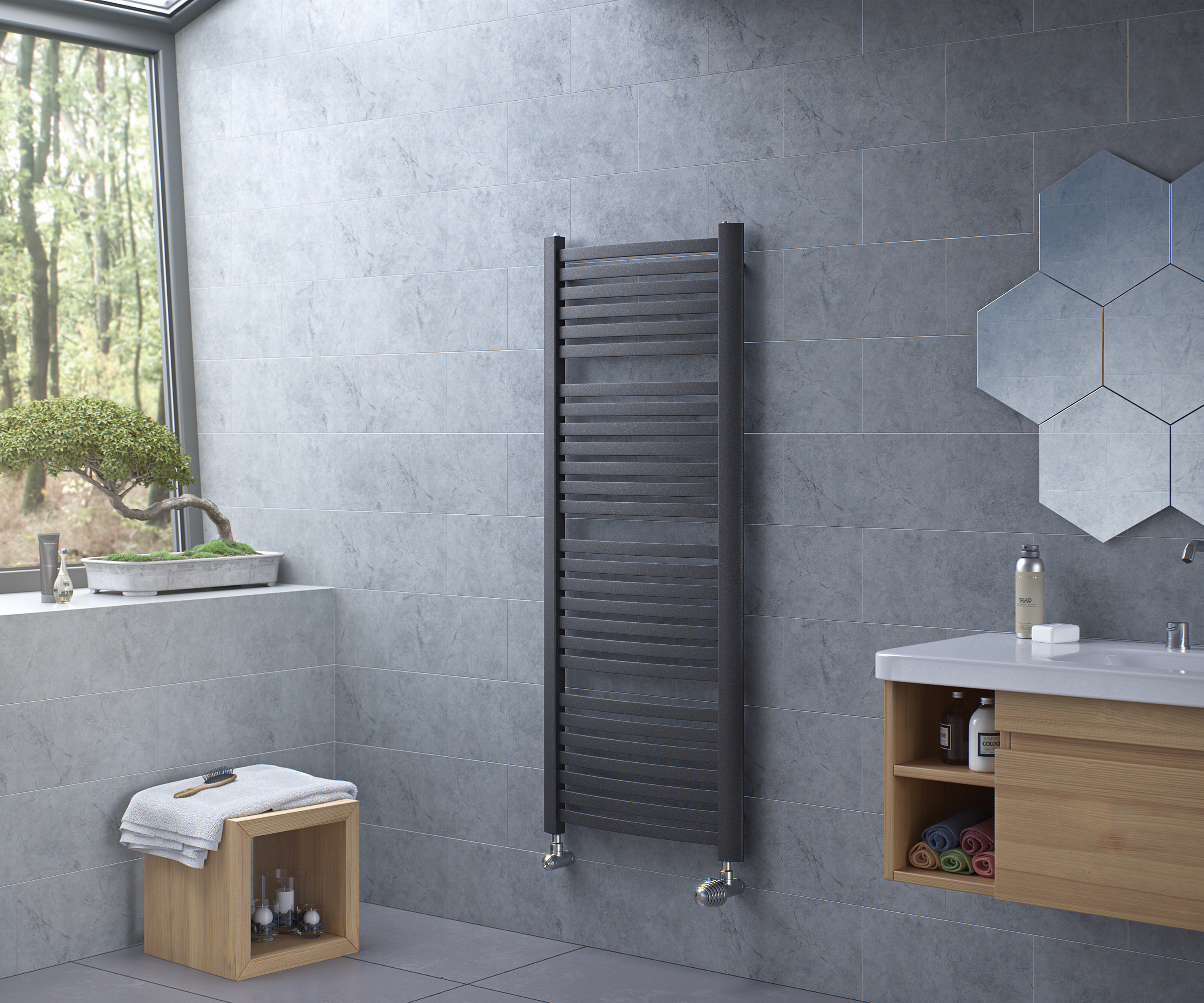 Fino Towel Radiator Anthracite Poshrads Designer Radiators