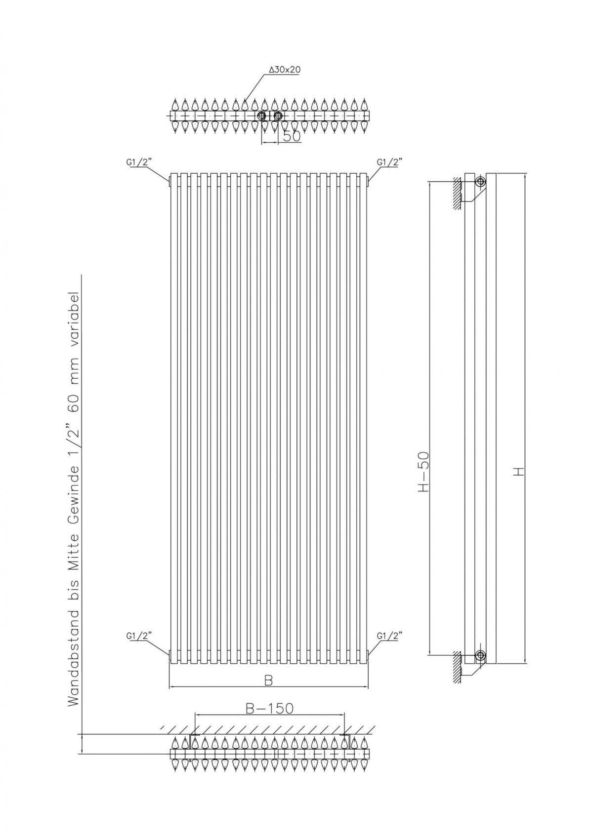Corus Duo Vertical Designer Radiator, Supplied with Central Conncection (Anthracite)