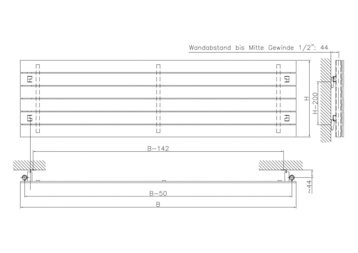 Mars Single Horizontal Designer Radiator (White)