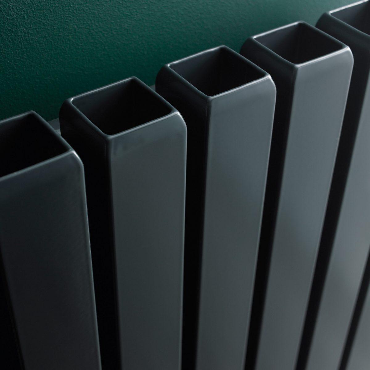 Vulkan Square Tube Single Vertical Designer Radiator (Anthracite)