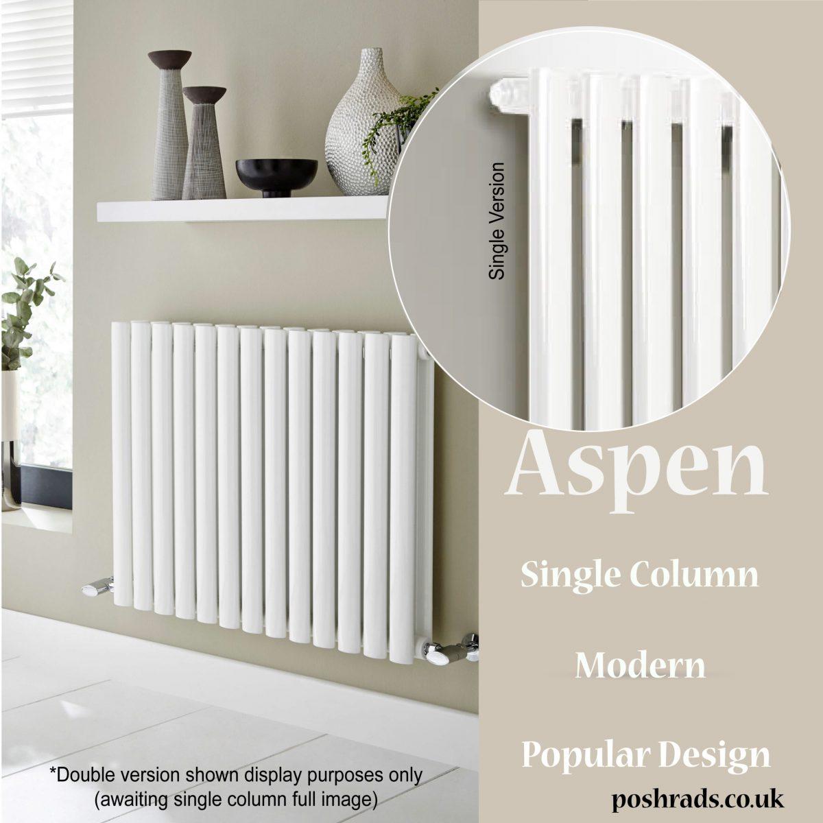 Aspen White Horizontal Single Designer Radiator