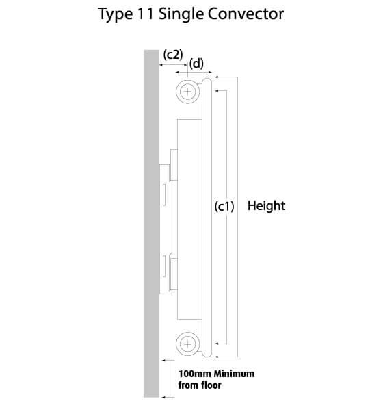 K-Flat Kompact Horizontal Type 11 Single Convector Designer Radiator