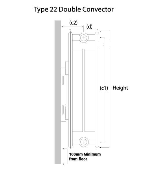 K-Flat Premium Kompact Horizontal Type 22 Double Convector Designer Radiator